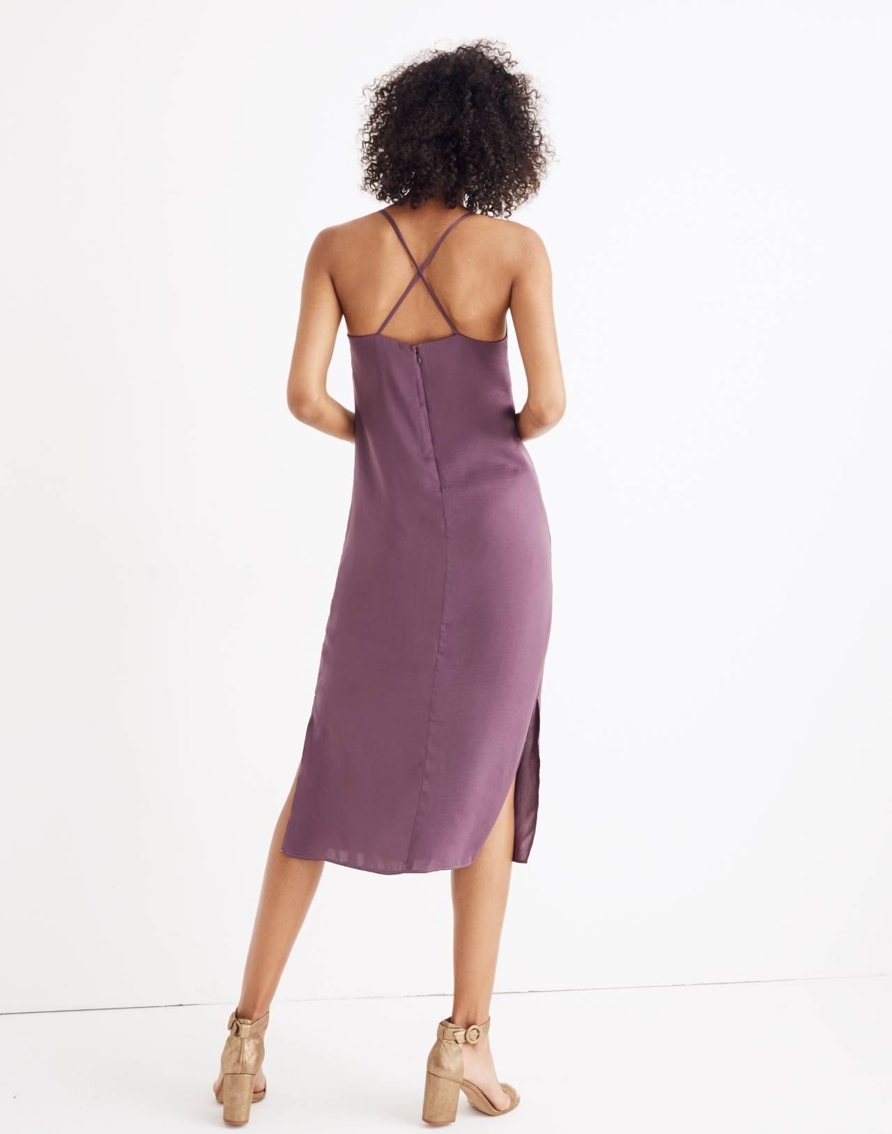 Apron Slip Dress in faded eggplant image 3