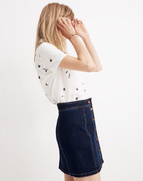 Stretch Denim A-Line Mini Skirt: Button-Front Edition in eldridge wash image 2