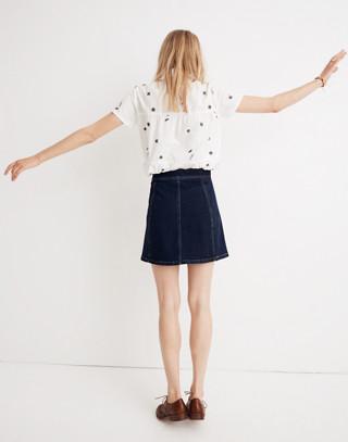 Stretch Denim A-Line Mini Skirt: Button-Front Edition