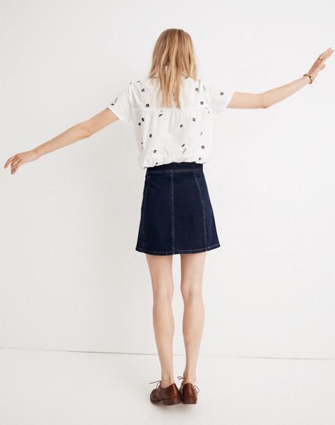 Stretch Denim A-Line Mini Skirt: Button-Front Edition in eldridge wash image 3