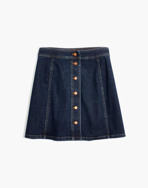 Stretch Denim A-Line Mini Skirt: Button-Front Edition in eldridge wash image 4
