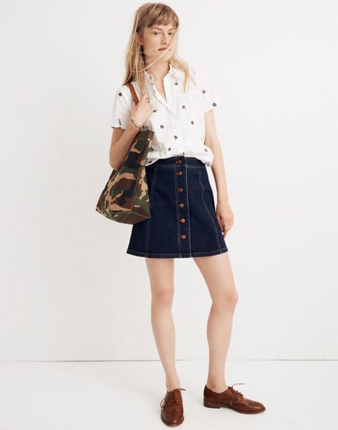 Stretch Denim A-Line Mini Skirt: Button-Front Edition in eldridge wash image 1