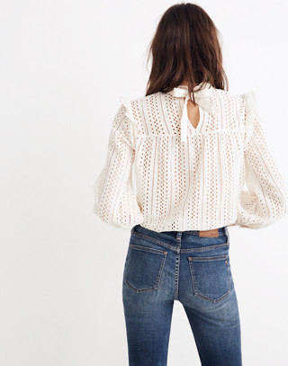 Eyelet Mockneck Ruffle Top in cloud lining image 2