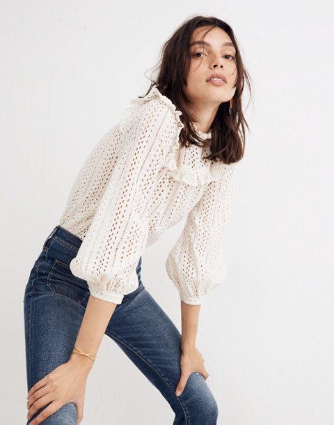 Eyelet Mockneck Ruffle Top in cloud lining image 3