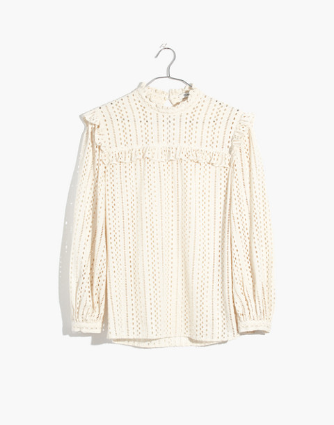 Eyelet Mockneck Ruffle Top in cloud lining image 4