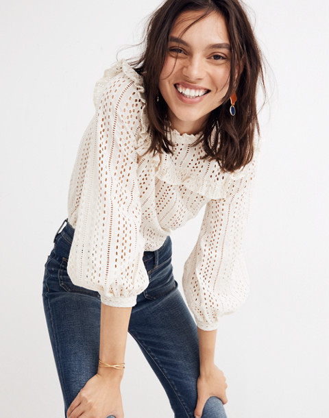 Eyelet Mockneck Ruffle Top in cloud lining image 1