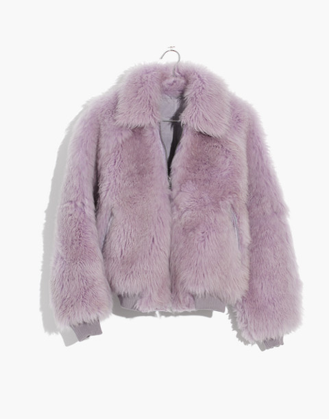 Mongolian Shearling Bomber Jacket in violet tint image 4