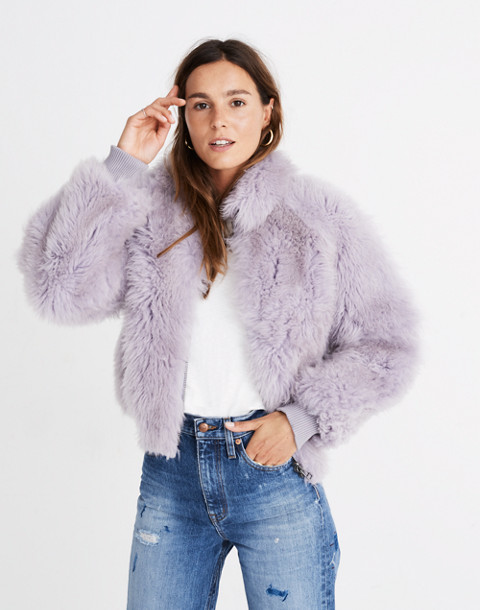 Mongolian Shearling Bomber Jacket in violet tint image 1
