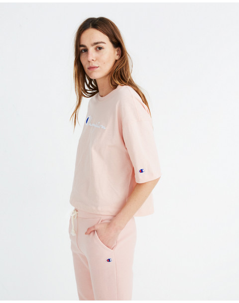 Champion® Maxi Cropped Tee in pink champion image 2