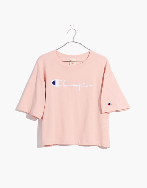 Champion® Maxi Cropped Tee in pink champion image 4