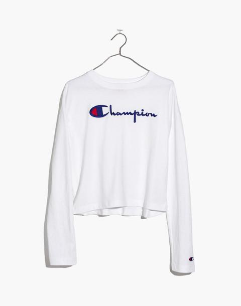 Champion® Crewneck Crop Top in white champion image 3