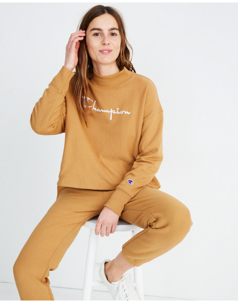 Champion® High-Neck Sweatshirt in brown champion image 1