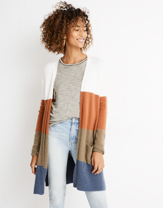 Kent Striped Cardigan Sweater in Coziest Yarn in heather chambray image 1