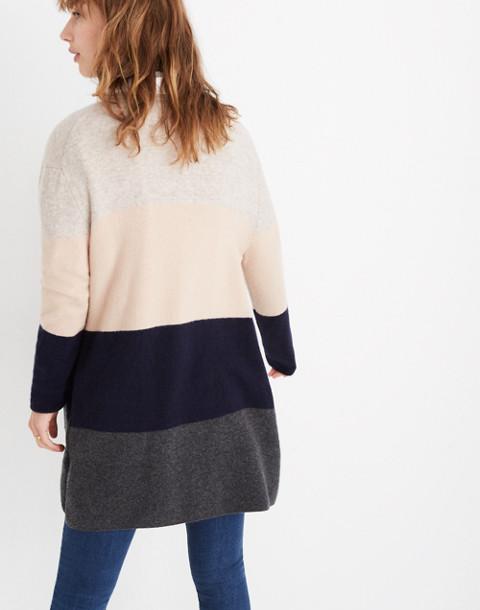 Kent Striped Cardigan Sweater in Coziest Yarn in hthr chimney image 3