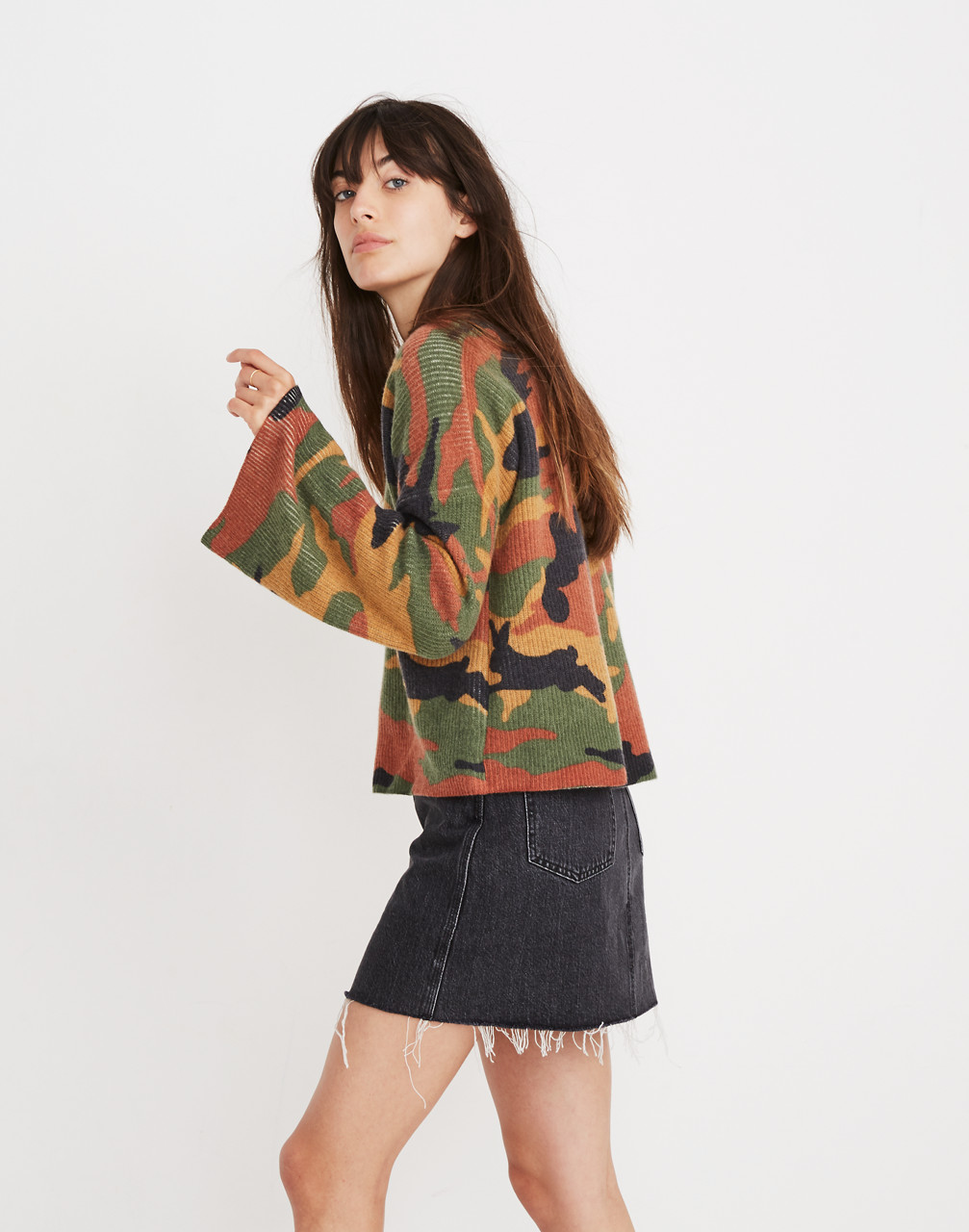 Cottontail Camo Wide-Sleeve Sweater in loden image 2