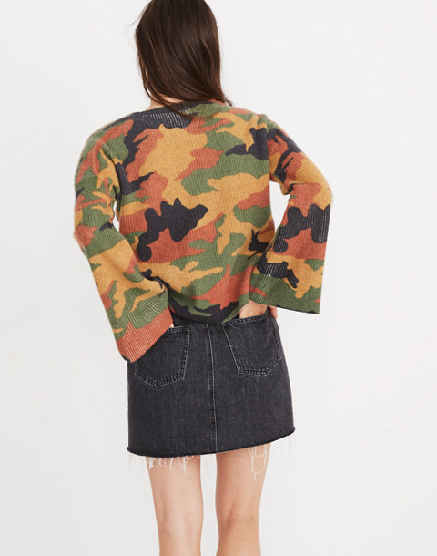 Cottontail Camo Wide-Sleeve Sweater in loden image 3