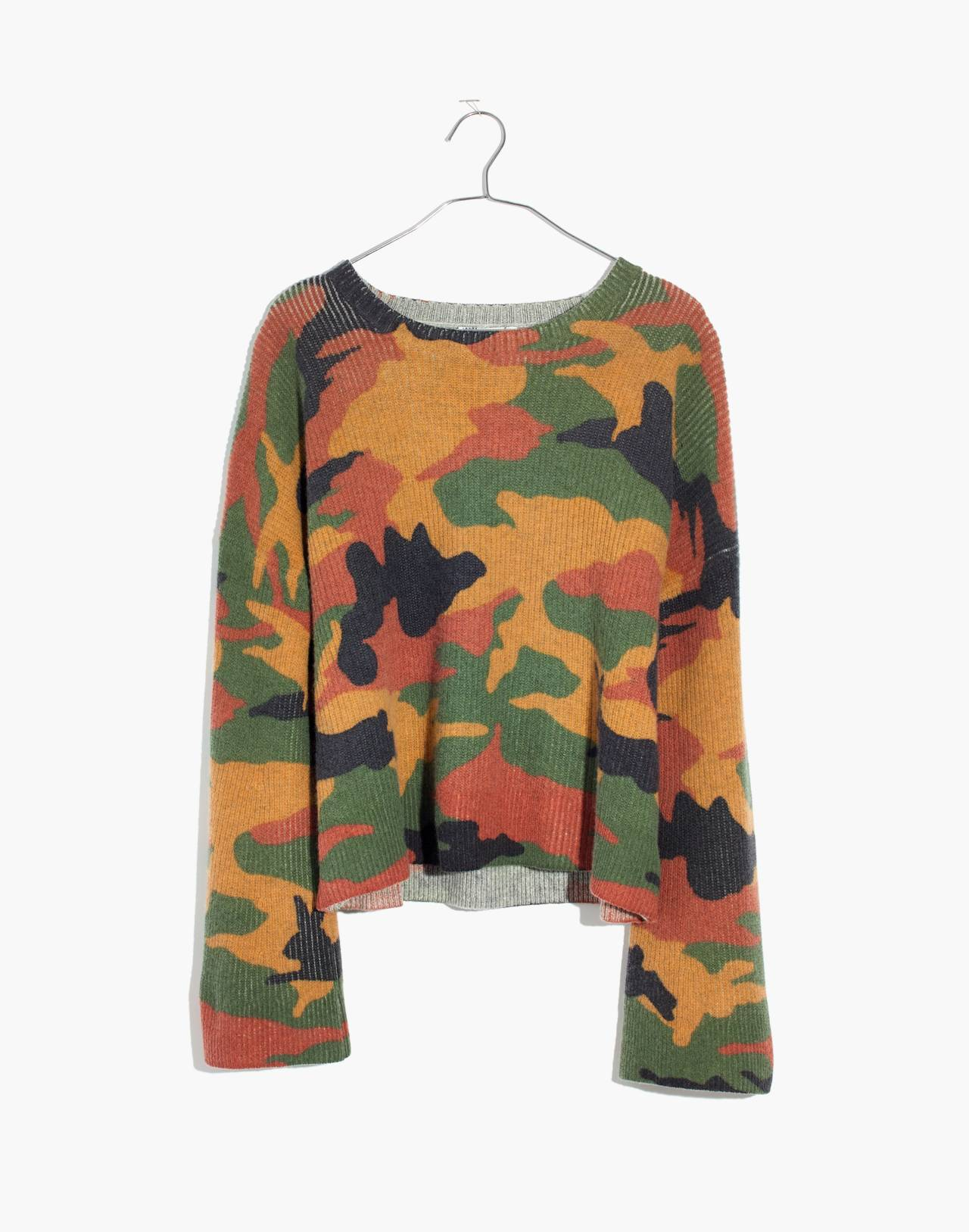 Cottontail Camo Wide-Sleeve Sweater in loden image 4