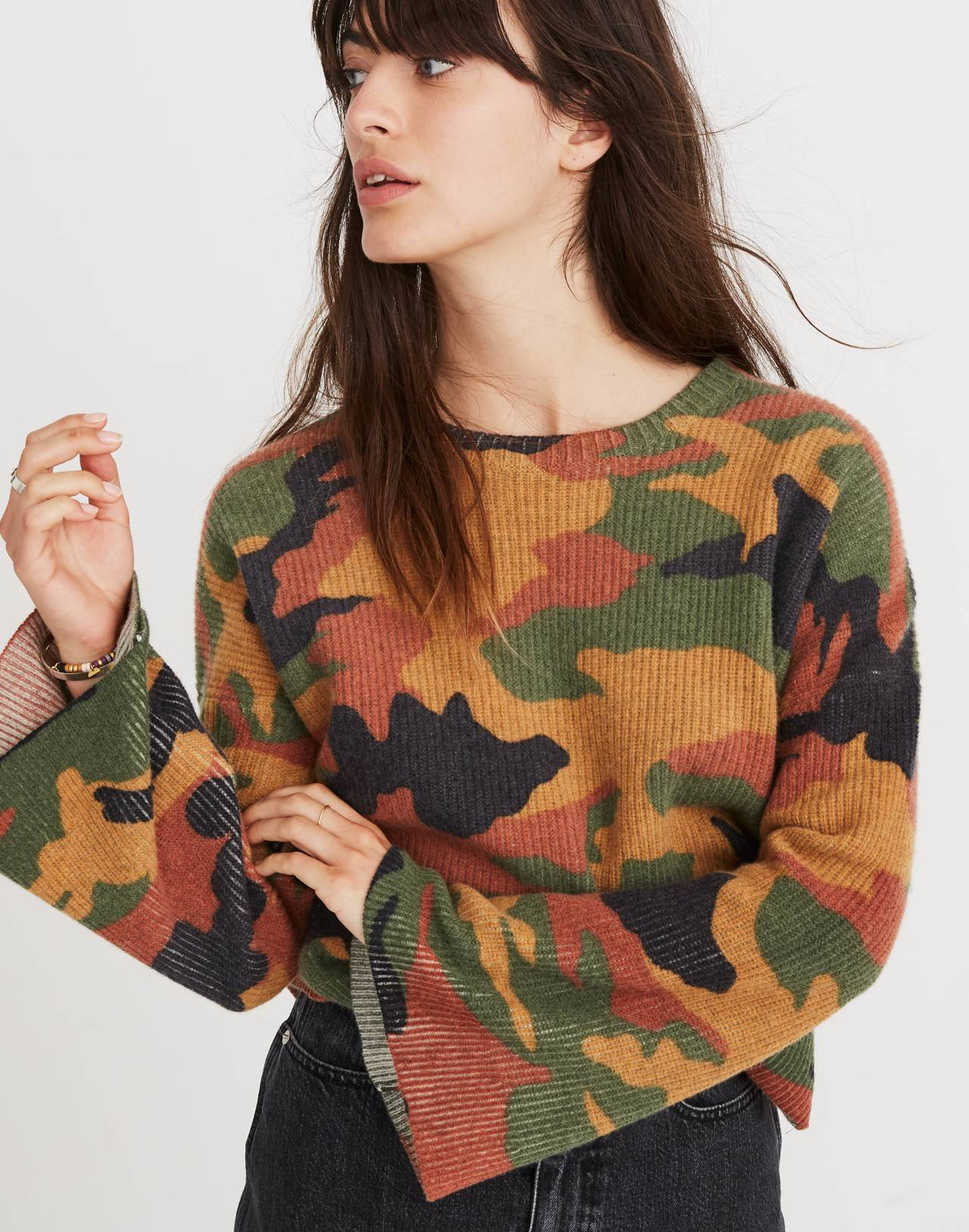 Cottontail Camo Wide-Sleeve Sweater in loden image 1