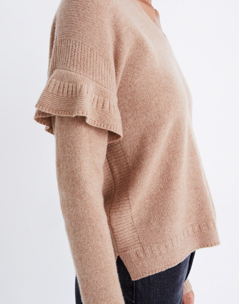 Ruffled Stitch-Play Pullover Sweater in hthr saddle image 2
