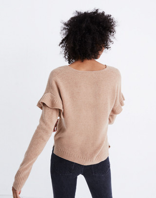 Ruffled Stitch-Play Pullover Sweater in hthr saddle image 3
