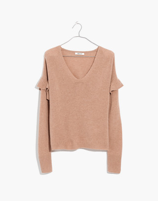 Ruffled Stitch-Play Pullover Sweater in hthr saddle image 4