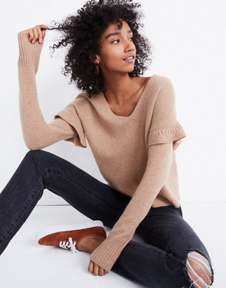 Ruffled Stitch-Play Pullover Sweater in hthr saddle image 1