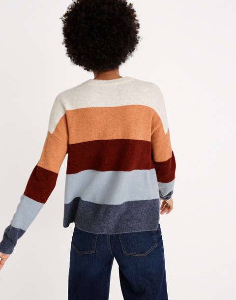 Crofton Striped Pullover Sweater in Coziest Yarn in heather sesame image 2