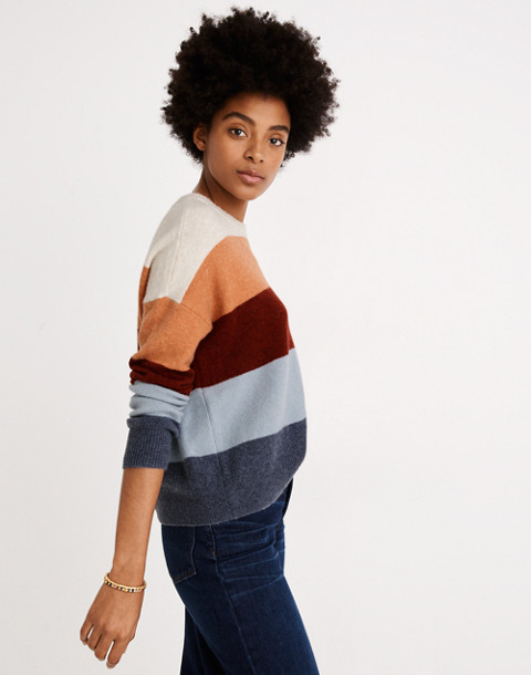 Crofton Striped Pullover Sweater in Coziest Yarn in heather sesame image 3