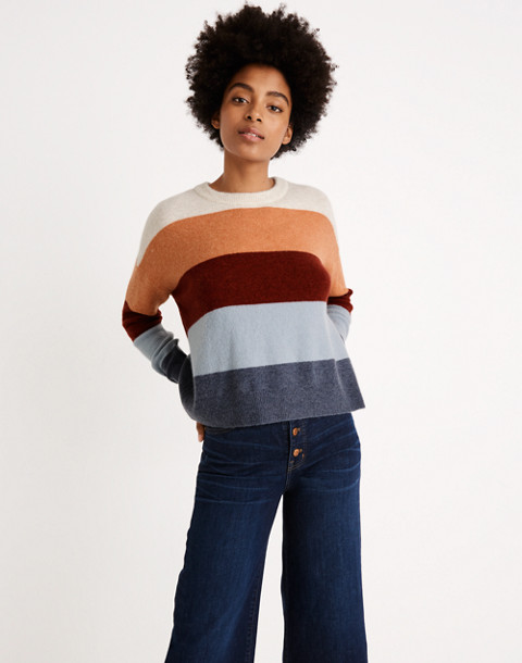 Crofton Striped Pullover Sweater in Coziest Yarn in heather sesame image 1