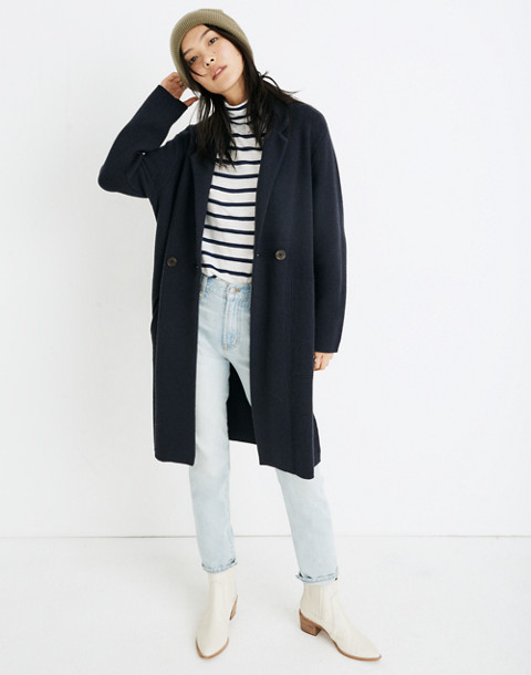Double-Breasted Sweater-Coat in nautical black image 1