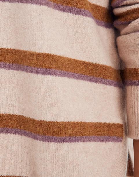 Westlake Striped Pullover Sweater in Coziest Yarn in heather beige image 2