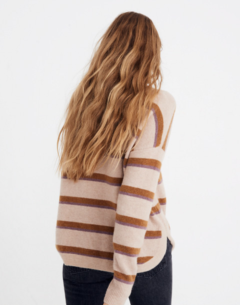 Westlake Striped Pullover Sweater in Coziest Yarn in heather beige image 3