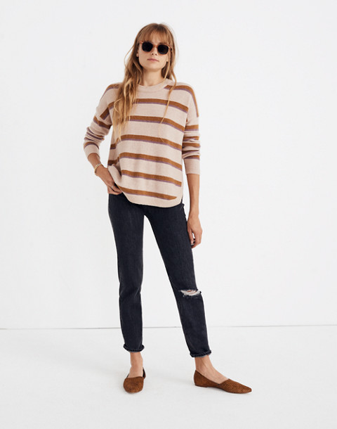 Westlake Striped Pullover Sweater in Coziest Yarn in heather beige image 1