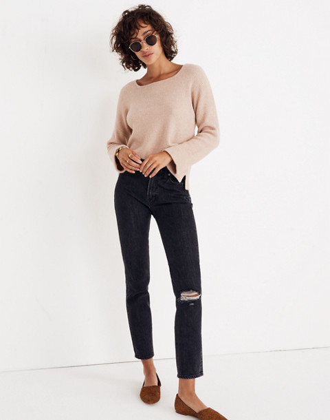 Square-Neck Pullover Sweater in Coziest Yarn in hthr beige image 2