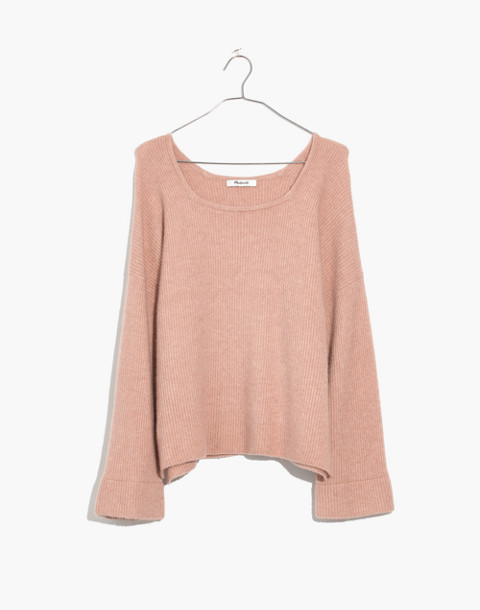 Square-Neck Pullover Sweater in Coziest Yarn in hthr beige image 4