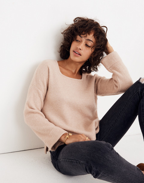 Square-Neck Pullover Sweater in Coziest Yarn in hthr beige image 1