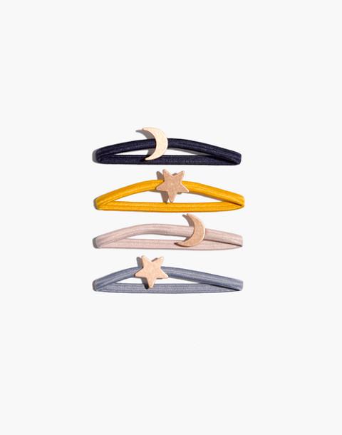 Four-Pack Star Hair Ties in mystic yellow multi image 1