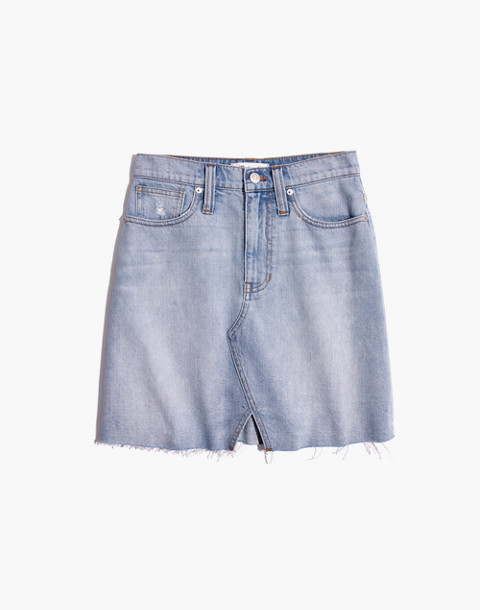 Rigid Denim A-Line Mini Skirt: Cutout Edition in fitzgerald wash image 4
