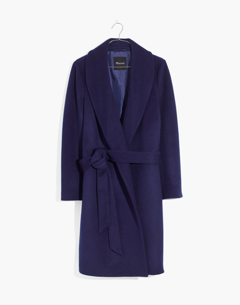 Shawl-Collar Wrap Coat in night sky image 4