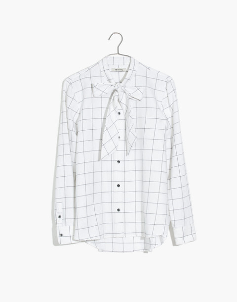 Flannel Tie-Neck Shirt in Windowpane in windowpane image 4