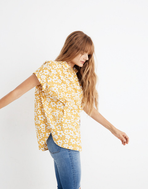 Central Shirt in Full Bloom in retro floral mystic yellow image 1