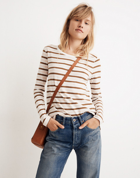 Whisper Cotton Long-Sleeve Crewneck Tee in Myers Stripe in peach blush image 2