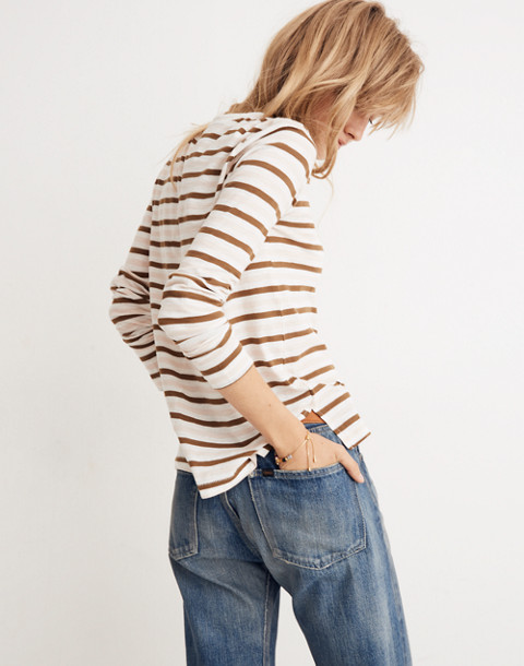 Whisper Cotton Long-Sleeve Crewneck Tee in Myers Stripe in peach blush image 3