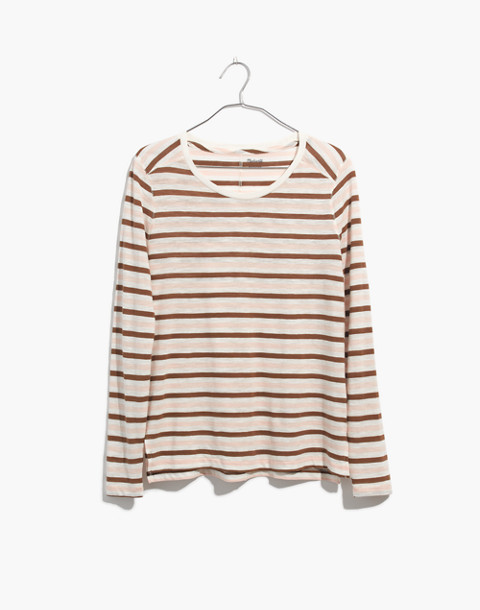 Whisper Cotton Long-Sleeve Crewneck Tee in Myers Stripe in peach blush image 4