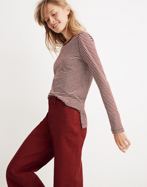 Whisper Cotton Long-Sleeve Crewneck Tee in Daniela Stripe in cabernet image 2