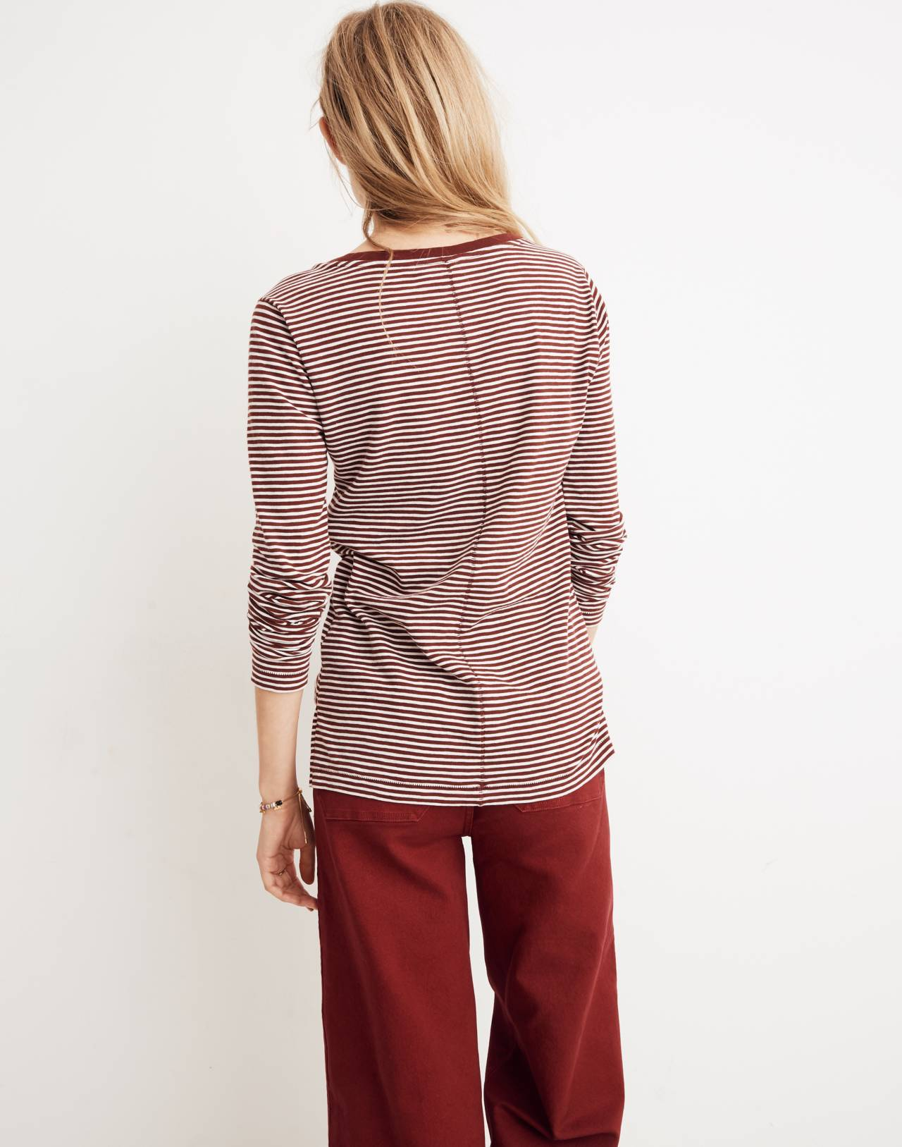 Whisper Cotton Long-Sleeve Crewneck Tee in Daniela Stripe in cabernet image 3
