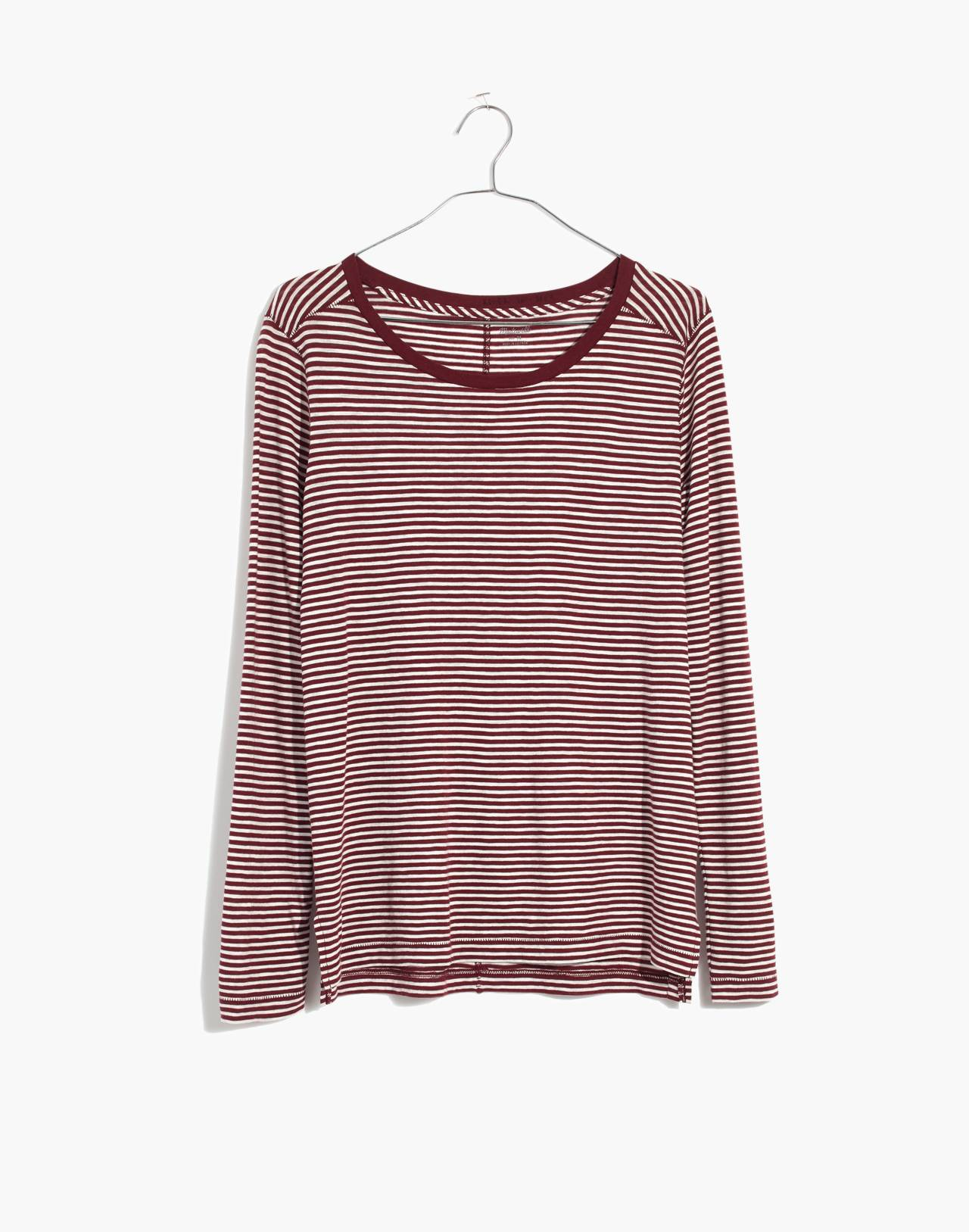 Whisper Cotton Long-Sleeve Crewneck Tee in Daniela Stripe in cabernet image 4
