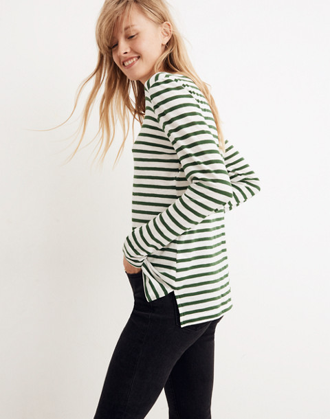 Whisper Cotton Long-Sleeve Crewneck Tee in Lomita Stripe in white wash image 2