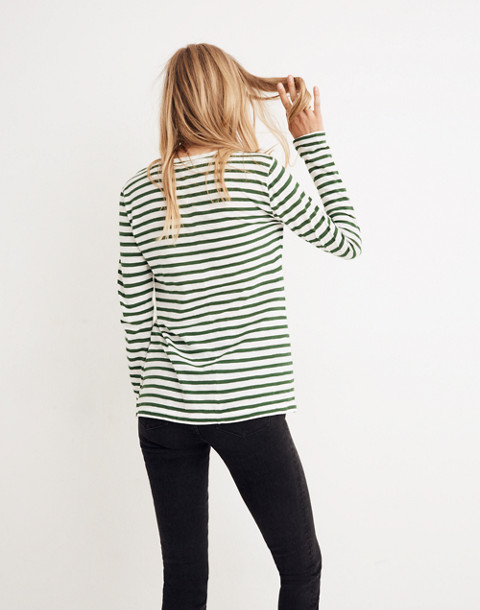 Whisper Cotton Long-Sleeve Crewneck Tee in Lomita Stripe in white wash image 3