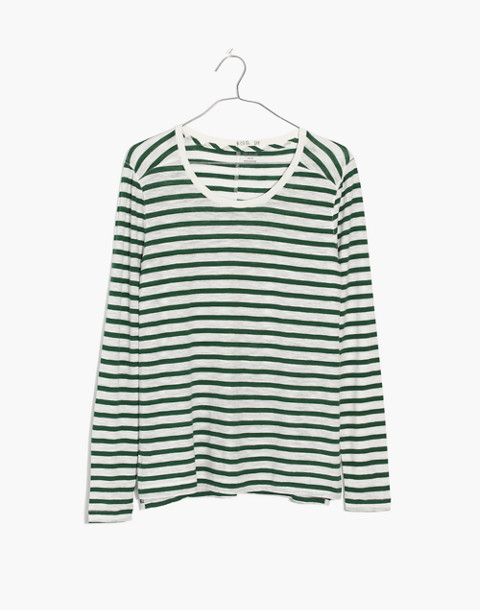 Whisper Cotton Long-Sleeve Crewneck Tee in Lomita Stripe in white wash image 4